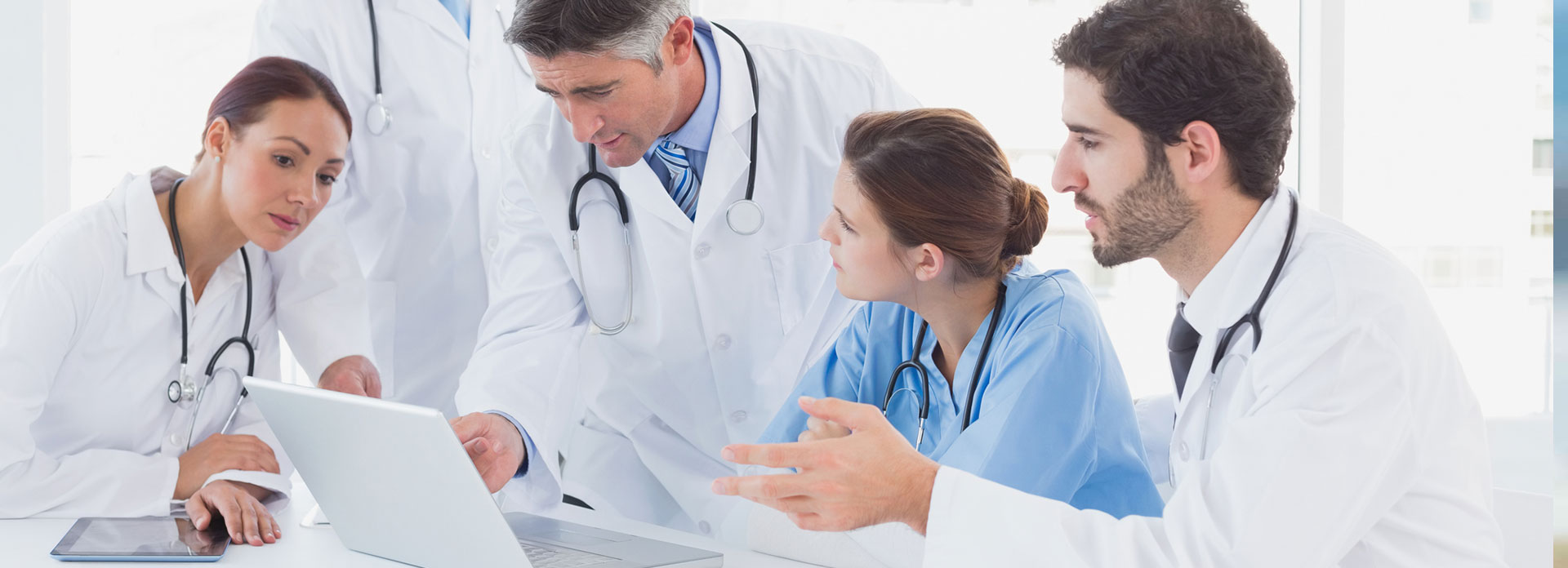 A team of doctors in a group discussion